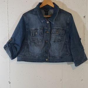 Lane Bryant 18/20 distressed cropped jean jacket